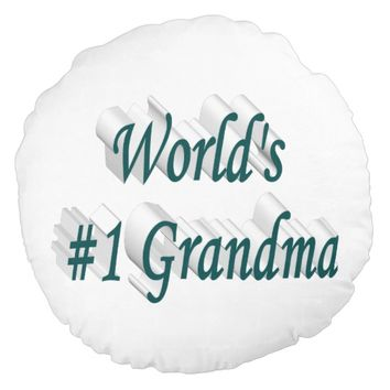 World's #1 Grandma 3D Round Pillows, Blue Green Round Pillow