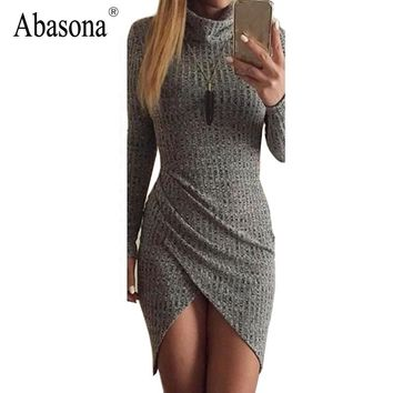 Sexy Club Dress Winter 2017 Fashion Turtleneck Femme Long Sleeve Ribbed Autumn Party Vestidos Split Sides Stretchy Bodycon Dress
