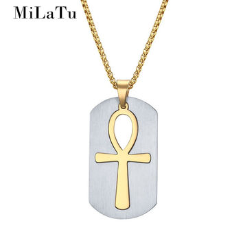 PROT95 MiLaTu Removable Ankh Cross Pendant Necklace Religious Jewelry Stainless Steel Women Men Amulet Pendant Free Chain NE237G