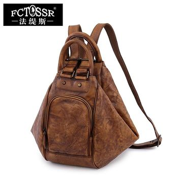 Retro Shoulder Bag The First Layer of Leather Leisure Large Capacity Handmade Bags Simple Leather Backpack