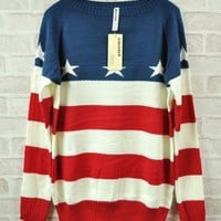 Retro Star Flag Strip Sweater