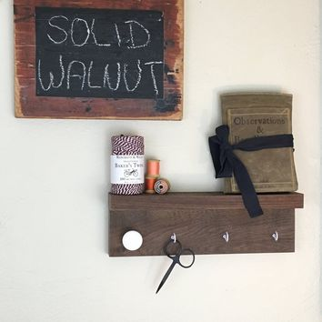 Farmhouse Kitchen Shelf / Key Rack Organizer with Cup Hooks
