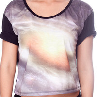 SPACE Universe Crop Top Cosmic Milky Way Galaxy Tank Top Women Crop Shirt Black Shirts Women T-Shirt Size S M