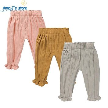 Baby casual cotton and linen Pants for Babies pure color Infant Baby Boy Girl Pants unisex kids pants