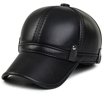 Trendy Winter Jacket XdanqinX Men's Faux Leather Baseball Caps With Earmuffs Thicker Warm 2018 New Style Fashion Winter Snapback Bone Brand Dad's Hat AT_92_12
