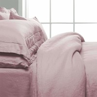 3 Piece Embroidered Duvet Cover Set Organic Belgian Linen in 7 Colors
