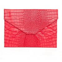 Red Crocodile Notebook Clutch