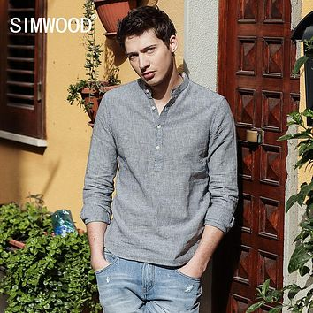 Spring New Arrival Striped Casual Shirts Men Mandarin Collar Cotton and Linen Slim Fit Clothing