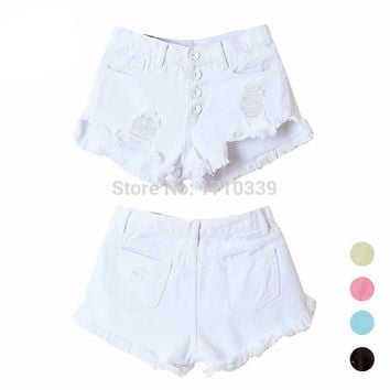 2016 Summer Style High Waist Shorts Women Jeans Button Ripped Denim Shorts Mini Fashion Plus Size S-XL Short Feminino