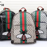 """""""Gucci"""" Unisex Casual Personality Fashion Classic Print Multicolor Stripe Snake Pattern Embroidery Backpack Large Capacity Double Shoulder Bag"""