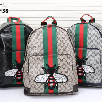 """Gucci"" Unisex Casual Personality Fashion Classic Print Multicolor Stripe Snake Pattern Embroidery Backpack Large Capacity Double Shoulder Bag"