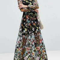Black Embroidery Floral Long Sleeve Sheer Mesh Maxi Dress - Choies.com