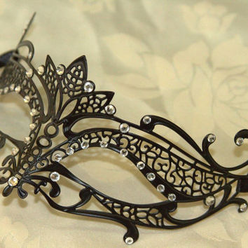 Black Tiara Style Masquerade Laser Cut Mask with Rhinestones