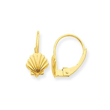 Kids Small Scalloped Shell Lever Back Earrings in 14k Yellow Gold