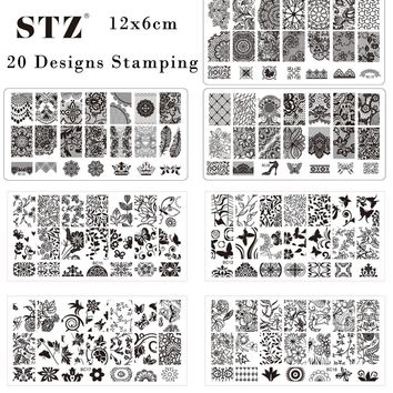 20pcs Fashion Nail Art Lace/Flower Sexy 20 Designs Stamping Plates Nail Art Stamp NEW 12x6cm Stencils Nail Templates BC01-20