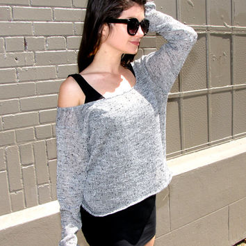 Womens Clothing See Through Lingerie Sweater - sheer grey shirt - lingerie - gray - upcycled clothing - bohemian clothing - hipster clothing