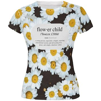 Flower Child Definition Daisies All Over Juniors T Shirt