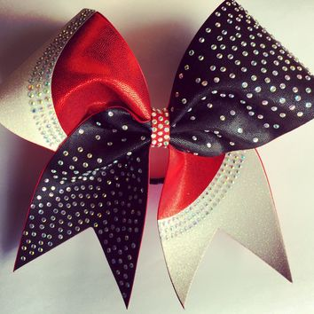 Two color mystique fabric bow with glitter and rhinestones