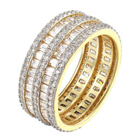 2 Row Baguette Womens Wedding Ring 14k Gold Over Sterling Silver Engagement