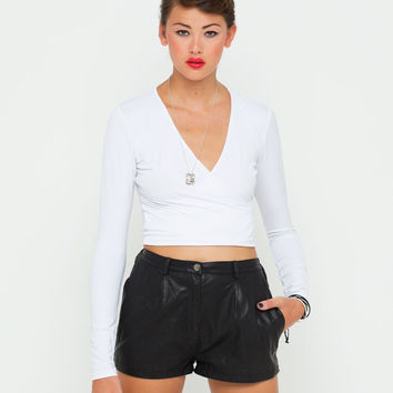 Motel Wrap Plunge Neck Crop Top in White
