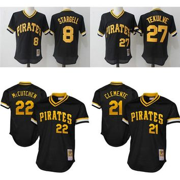 Pittsburgh Pirates Throwback Jerseys 8 Willie Stargell 27 Kent Tekulve 21 Roberto Clemente 22 Andrew McCutchen Mesh baseball Jersey