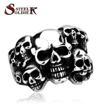 Steel soldier Cheap Men's Punk Biker Jewelry lot of multi solid Skull Ring 316L Stainless Steel Jewelry BR8-041