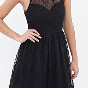 Black Sheer Lace Skater Dress