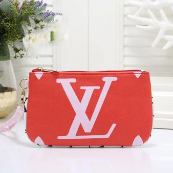 LV Louis Vuitton Newest Trending Women Leather Handbag Wrist Bag Cosmetic Bag Purse Wallet Red