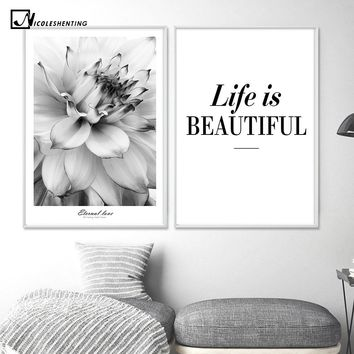 Black White Flower Inspiration Poster Life Quote Canvas Print Minimalist Wall Art Painting Nordic Decorative Picture Home Decor