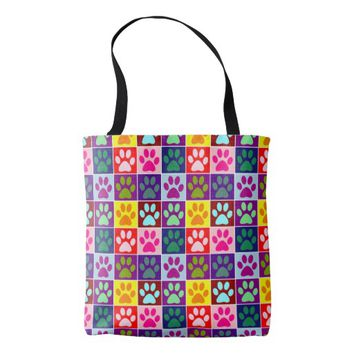 Multicolored Paws in Multicolored Squares Tote Bag