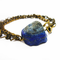 Lapis Lazuli Raw Crystal Quartz & Mixed Brass Chains Bracelet by AstralEYE