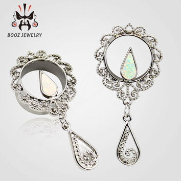 2016 new fashion opal dangle silver stainless steel ear plugs flesh tunnels piercing body jewelry sell by pair