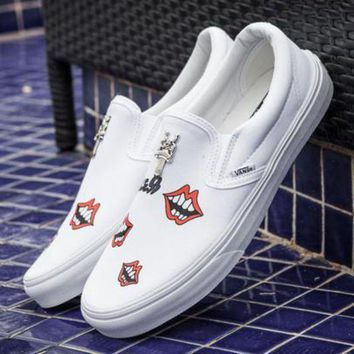 ICIKIJG Trendsetter VANS Canvas Old Skool Red Lips Flats Shoes Sneakers Sport Shoes
