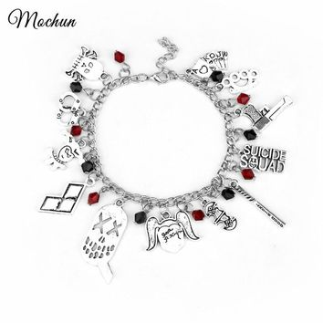 MQCHUN DC Comics Suicide Squad Harley Quinn Charm Bracelet Bat Baseball Crystal Beads Bracelets For Women Fashion Movie Jewelry