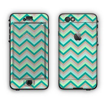 The Vintage Subtle Greens Chevron Pattern Apple iPhone 6 Plus LifeProof Nuud Case Skin Set