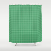 Green Grid - Pattern Shower Curtain by Moonshine Paradise
