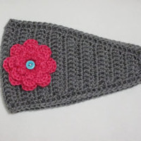 Crochet Headwrap Gray with Hot Pink Flower Handmade