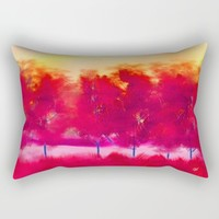 Red Trees Abstract Landscape Rectangular Pillow by Jennifer Warmuth Art And Design
