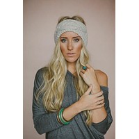 Boho Cable Knit Ear Warmer Headband Oatmeal Best Selling Super Soft Buttons On & Off Beige Tan One Size