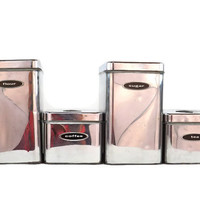 Masterware Canister Set Chrome Kitchen Canisters Vintage Canisters