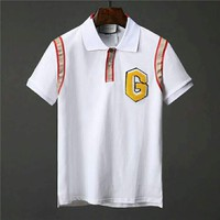 GUCCI 2018 new street fashion personalized embroidery letter printed short-sleeved polo shirt white