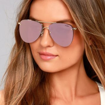 Le Specs The Prince Gold and Pink Mirrored Sunglasses