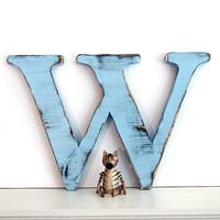 Uppercase Letter W (Pictured in Soft Blue) Pine Wood Sign Wall Decor Rustic Americana French Country Chic
