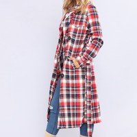 Chelsea Plaid Trench - Red/Navy