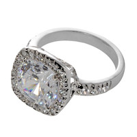 Cushion Cut Square Cubic Zirconia Ring Sterling Silver 10mm 5ct