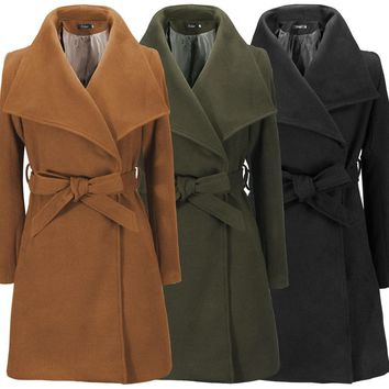 Womens Beautiful Casual Warm Wool Coat