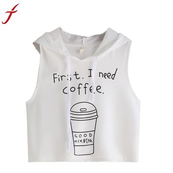Hot Sale Fashion Women Ladies Sexy Coffee Letters Printing Hooded Crop Sleeveless Tops #LSIN