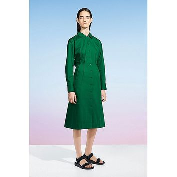 WOMEN U COTTON TWILL LONG-SLEEVE SHIRT DRESS
