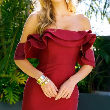 Ruffle Off Shoulder Party Dress