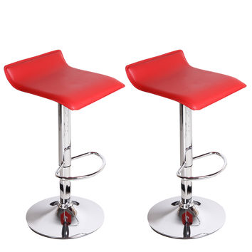Adeco Red Hydraulic Lift Cushioned Adjustable Barstool, Micro Back Vinyl Covered, Chrome Finish Pedestal Base (Set of two)